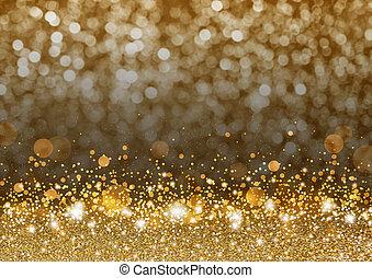 natal, fundo, conceito, desenho, de, ouro, gitter, e, brilhante
