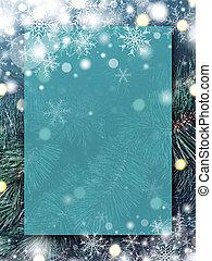 natal, fundo, desenho, de, em branco, transparente, tábua, com, neve, e, snowflake, ligado, árvore xmas