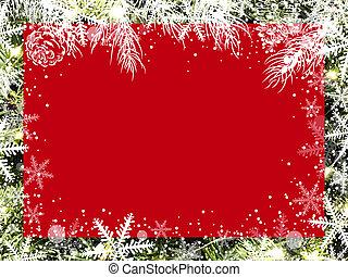 natal, fundo, desenho, de, em branco, vermelho, tábua, ligado, árvore xmas, com, neve, e, snowflake