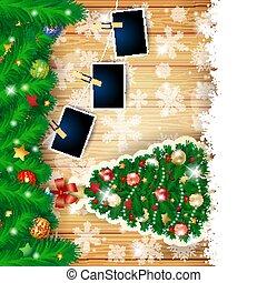natal, fundo, ilustração, eps10, foto, abeto, vetorial, árvore, frames.