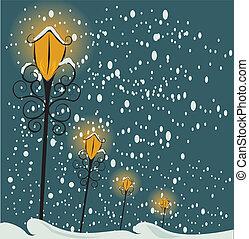 natal, fundo, lamppost