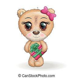 natal, fundo, olhos, cute, patas, presente, caricatura, branca, grande, seu, urso, designs.
