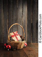 natal, gif, em, arte, papel, com, fita vermelha, em, cesta,...