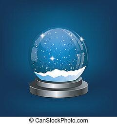 natal, globo neve, com, a, queda, neve