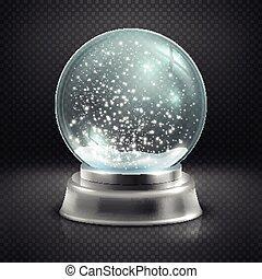 natal, globo neve, isolado, ligado, transparente, checkered,...