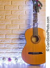 natal, guitarra acústica, ligado, parede tijolo, para,...