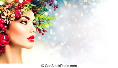 natal, hairstyle., feriado, maquilagem, closeup