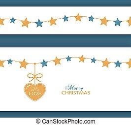 natal, heart., borda, estrela