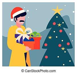 natal, homem, árvore, cena, caixas, presente