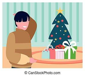 natal, homem, árvore, cena, presente