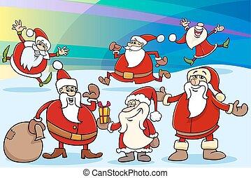 natal, ilustração, caricatura