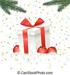 natal, ilustração, com, caixa presente, e, cor, baubles