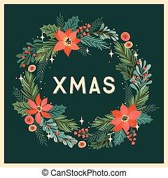 natal, ilustração, feliz, ano, novo, wreath.