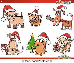 natal, jogo, cão, caráteres, caricatura