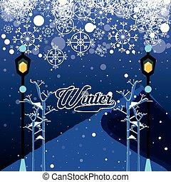 natal, lâmpadas, paisagem inverno, cena