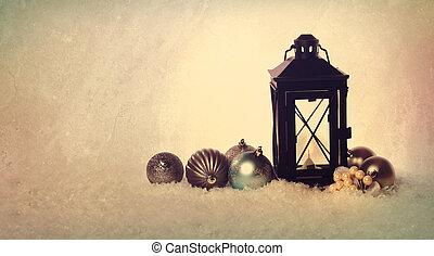 natal, lanterna, com, ornamentos