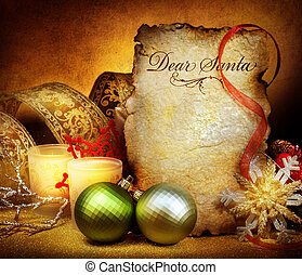 natal., letra, para, santa., vindima, denominado, cartão...