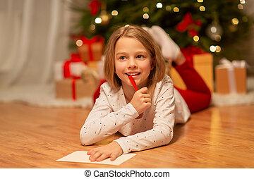 natal, lista desejo, escrita home, menina sorri