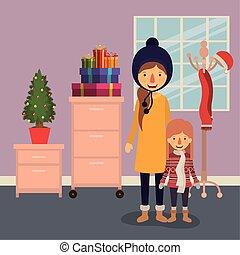 natal, livingroom, membros, celebrando, família
