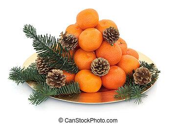 natal, mandarin, fruta