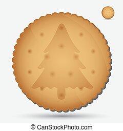 natal, marrom, biscoito, com, árvore, símbolo, eps10