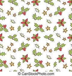 natal, mistletoe, seamless