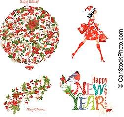 natal, moda, cobrança, de, padrões florais, e, bonito, sa