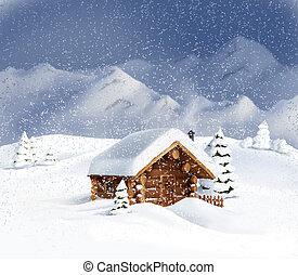 natal, paisagem inverno, cabana, neve