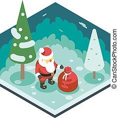 natal, papai noel, avô, geada, saco presente, ano novo, floresta, madeira, fundo, isometric, 3d, apartamento, desenho, ícone, modelo, vetorial, ilustração