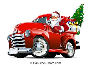 natal, pickup, caricatura, retro