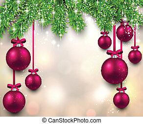 natal, quadro, com, abeto, branches.