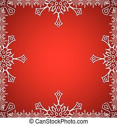 natal, quadro, com, snowflakes, borda