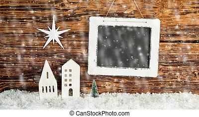 natal, queda, inverno, fundo, neve