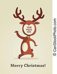 natal, rena, cartão, com, lugar, para, seu, foto