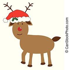 natal, rena, desgastar, chapéu santa
