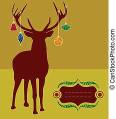 natal, rena, silueta, cartão cumprimento