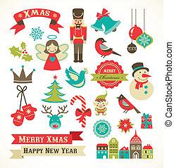 natal, retro, ícones, elementos, e, ilustrações