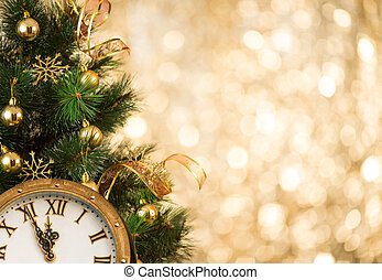 natal, rosto, árvore, retro, relógio