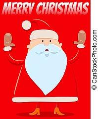 natal, santa, desenho, engraçado, caricatura