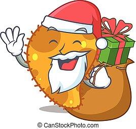 natal, santa, presente, caricatura, pseudomonas, desenho
