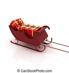 natal, santa, trenó, com, presentes