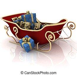 natal, santa, trenó, com, presentes, ligado, um, fundo branco