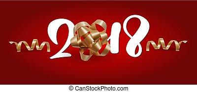 natal, saudação, card., 2018, lettering, experiência vermelha, vetorial, ilustração, com, um, malha, arco ouro
