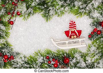 natal, saudação, card., natal, borda, com, cópia, space.,...