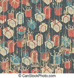natal, seamless, fundo, com, presentes, pattern., vetorial, ilustração, eps10.