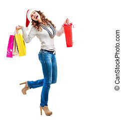natal, shopping., mulher, com, sacolas, sobre, white., vendas