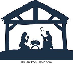 natal, silhuetas, cena, natividade