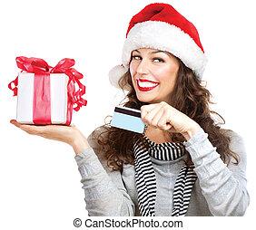 natal., sorrir feliz, mulher, com, caixa presente, e, cartão crédito