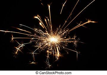 natal, sparkler, ligado, experiência preta