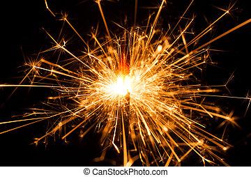 natal, sparkler, ligado, pretas, experiência., bengal, fogo